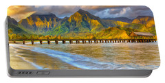 Golden Hanalei Morning Portable Battery Charger by Dominic Piperata