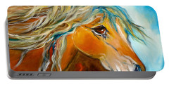 Portable Battery Charger featuring the painting Golden Horse by Jenny Lee