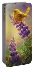 Golden Light 2 Wilsons Warbler And Lupine Portable Battery Charger by Karen Whitworth