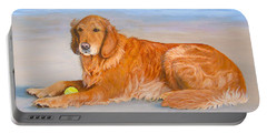 Portable Battery Charger featuring the painting Golden Murphy by Karen Zuk Rosenblatt