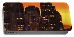 Portable Battery Charger featuring the photograph Golden Orange Cityscape Dccc by Amyn Nasser