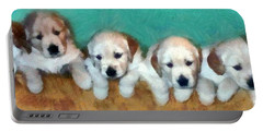 Golden Puppies Portable Battery Charger by Michelle Calkins