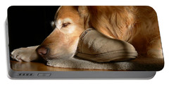 Golden Retriever Dog With Master's Slipper Portable Battery Charger by Jennie Marie Schell
