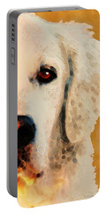 Portable Battery Charger featuring the painting Golden Retriever Half Face By Sharon Cummings by Sharon Cummings