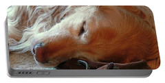 Golden Retriever Sleeping With Dad's Slippers Portable Battery Charger