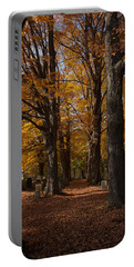 Portable Battery Charger featuring the photograph Golden Rows Of Maples Guide The Way by Jeff Folger