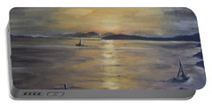 Portable Battery Charger featuring the painting Golden Sea View by Teresa White