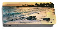 Golden Sunrise On Sapphire Beach Portable Battery Charger by Roupen  Baker