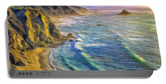 Golden Sunset At Big Sur Portable Battery Charger