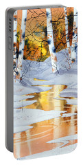 Portable Battery Charger featuring the painting Golden Winter by Teresa Ascone