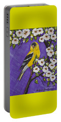 Goldfinch In Pear Blossoms Portable Battery Charger
