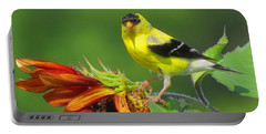 Portable Battery Charger featuring the photograph Goldfinch Pose by Dianne Cowen