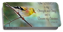 Goldfinch With Rosy Shoulder - Digital Paint And Verse Portable Battery Charger by Debbie Portwood