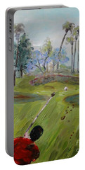 Portable Battery Charger featuring the painting Golfing At Monarch by Maria Langgle