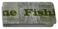 Gone Fishing Portable Battery Charger by Michelle Calkins