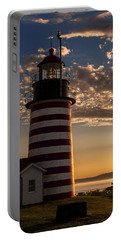 Good Morning West Quoddy Head Lighthouse Portable Battery Charger by Marty Saccone