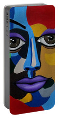 Colorful Illusion Abstract Face Art Painting, Big Brown Eye Art, Optical Artwork Portable Battery Charger