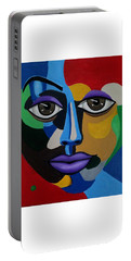Colorful Abstract Face Art Painting, 3d Illusion, Big Brown Eyes, Purple Lips Portable Battery Charger
