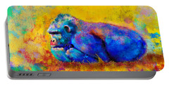 Portable Battery Charger featuring the painting Gorilla by Sean McDunn