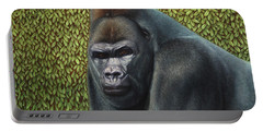 Gorilla With A Hedge Portable Battery Charger by James W Johnson