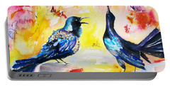 Grackles And Graffiti  Portable Battery Charger by Carlin Blahnik