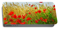 Grain And Poppy Field Portable Battery Charger