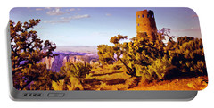 Portable Battery Charger featuring the painting Grand Canyon National Park Golden Hour Watchtower by Bob and Nadine Johnston