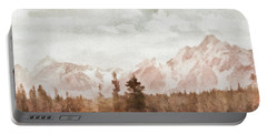Portable Battery Charger featuring the painting Grand Teton Mountains by Greg Collins