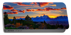 Portable Battery Charger featuring the photograph Grand Teton Sunset by Greg Norrell