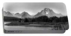 Portable Battery Charger featuring the photograph Grand Tetons Bw by Ron White