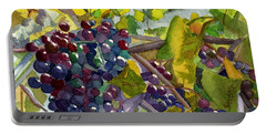 Portable Battery Charger featuring the painting Grapevines by Lynne Reichhart