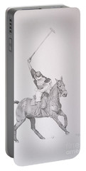 Graphite Drawing - Shooting For The Polo Goal Portable Battery Charger