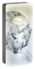 Portable Battery Charger featuring the drawing Graphite Portrait Sketch Of A Man In Profile by Greta Corens