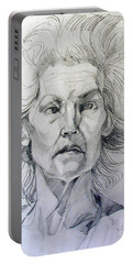 Portable Battery Charger featuring the drawing Graphite Portrait Sketch Of A Well Known Cross Eyed Model by Greta Corens