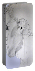 Portable Battery Charger featuring the drawing Graphite Portrait Sketch Of A Young Man In Profile by Greta Corens