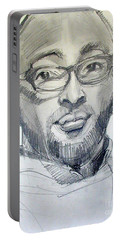 Portable Battery Charger featuring the drawing Graphite Portrait Sketch Of A Young Man With Glasses by Greta Corens