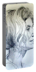 Portrait Drawing Of A Woman In Profile Portable Battery Charger by Greta Corens