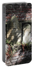 Portable Battery Charger featuring the photograph Grave Stones With Fern by Patricia Greer