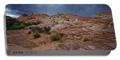 Gray And Red In The Valley Of Fire Portable Battery Charger