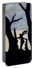 Portable Battery Charger featuring the drawing Gray Sunset by D Hackett