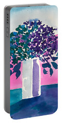 Portable Battery Charger featuring the painting Gray Vase by Frank Bright