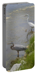 Great Blue And White Egrets Portable Battery Charger by Judith Morris