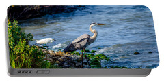Great Blue Heron And Snowy Egret At Dinner Time Portable Battery Charger