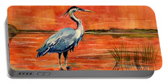 Great Blue Heron In Marsh Portable Battery Charger