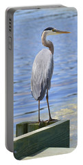 Great Blue Heron Portable Battery Charger by Judith Morris