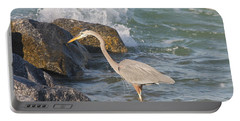 Great Blue Heron On The Prey Portable Battery Charger by Christiane Schulze Art And Photography