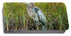 Great Blue Heron Waiting For Supper Portable Battery Charger by Eti Reid
