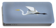 Portable Battery Charger featuring the photograph Great Egret In Flight by John M Bailey