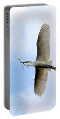 Great Egret In Flight Portable Battery Charger