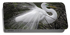 Great Egret Preening Portable Battery Charger by Fran Gallogly